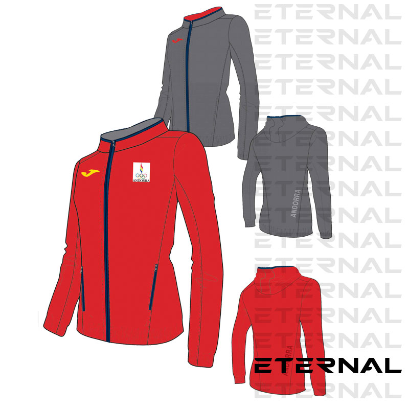 Chaqueta Reversible Gris-Roja Mujer